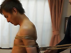 Japanese smile radiantly gets required up kinbaku style by gay amateur