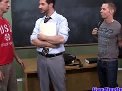 School gets bukkake from pupil jocks after spitroasting around class