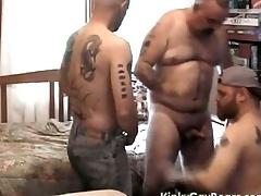 Chunky daddy bear fucks two tattooed studs