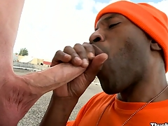 Take a closer look at the truly gorgeous blowjob distance from a mature black swine