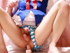 [Japanese crossdresser] toho Cirno cosplay masturbation