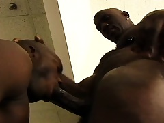 Black stud gets his huge dick sucked and then drills his buddy's ass