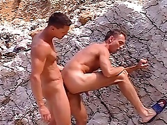 Unconcerned studs with hot forebears Public are on the beach and nailing some ass